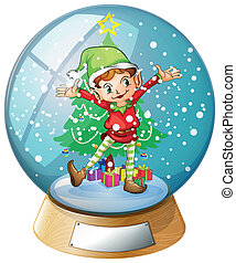 An elf in front of a christmas tree inside a snowball