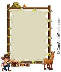 An empty framed banner with a cowboy and a horse -...
