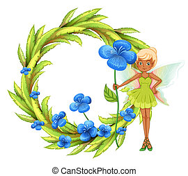A round leafy border with a fairy holding a blue flower -...