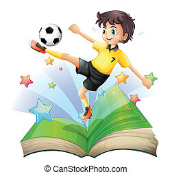 An open book with an image of a football player -...