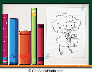 A shelf with books and a paper with an image of a girl -...