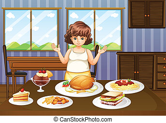 A fat lady in front of a table with many foods