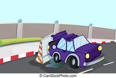 A violet car bumping the traffic cone at the road -...