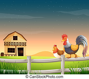 A rooster and a chicken near the barnhouse - Illustration of...