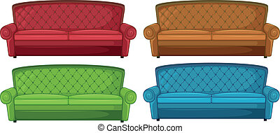 Colorful couches - Illustration of the colorful couches on a...