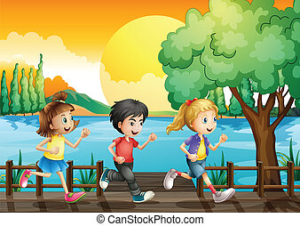 Three kids running at the port - Illustration of the three...