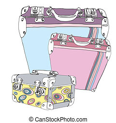 Retro Suitcases with make-up case vector illustration