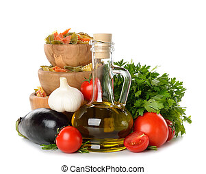 Olive oil, vegetables and pasta