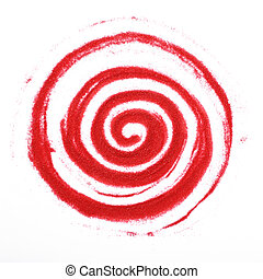 Sandy spiral - Red sandy spiral on a white background