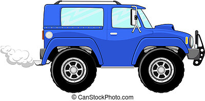 blue truck cartoon isolated