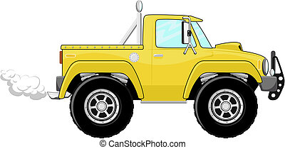 pickup truck cartoon - illustration of yellow pickup truck...