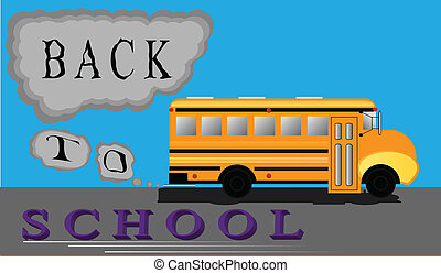 Back to School Bus - Big yellow school bus trucks down the...