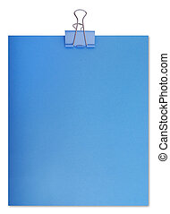 Large paper clip and sheet of a blue paper (isolated)
