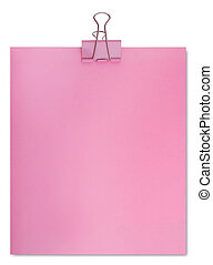 Large paper clip and sheet of a pink paper (isolated)