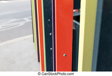 colorful wooden slats on the street