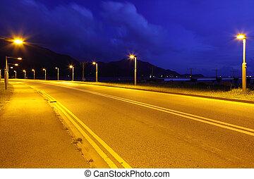 Asphalt road at night