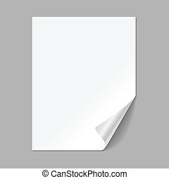 Single Paper Page - Single piece of paper with curling...
