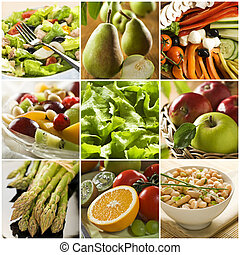 collage - healthy vegetables and fruit food - collage