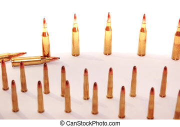 ammo 45 - ammunition all in rows on a mixed background