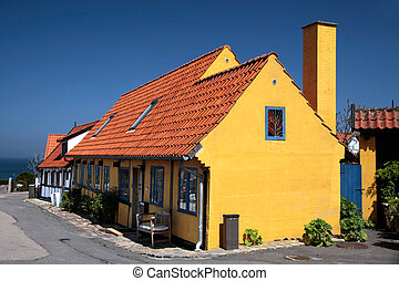 Yellow half-timbered house on Bornholm