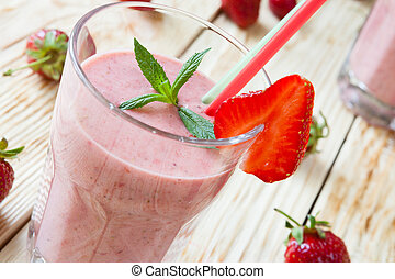 strawberry milk shake, food close up