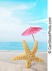 Starfish with pink parasol - Beach image of one funny...