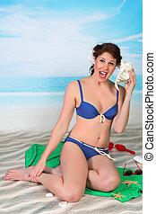 Seaside pinup girl