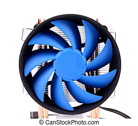 Blue computer fan for PC case on a white background