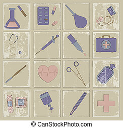 retro vector icons medicine