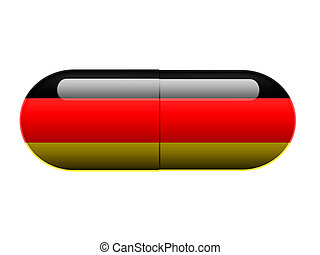 German pill - A pill with the German flag wrapped around it