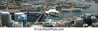 Panoramic top view of Sydney Darling Harbor