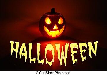 Halloween pumpkin - Scary face cut into pumpkin for...