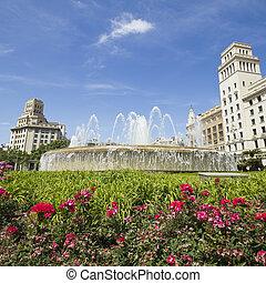 Fountain of Catalonia square Barcelona, Spain.