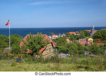 Vantage point above Gudhjem on Bornholm, Denmark with sea...