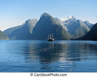 Fiord Milford Sound. Nature reserve Fiordland.New Zealand