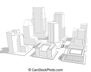 Wireframe City - Wireframe rendering of nine city blocks...