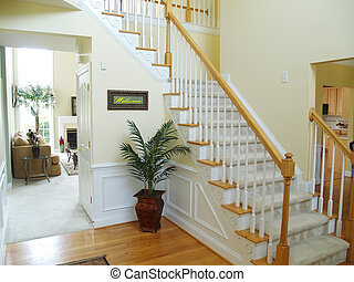 Welcome Home - A foyer in a modern american home with a...