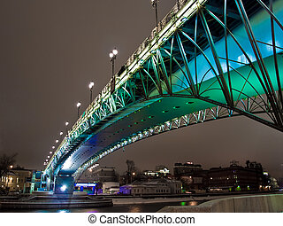 Bridge over the Moscow river at night