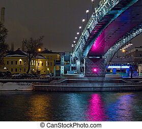 New bridge in old part of Moscow city