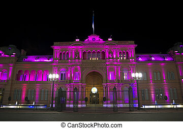 Casa Rosada Pink House by night - Casa Rosada by night Pink...