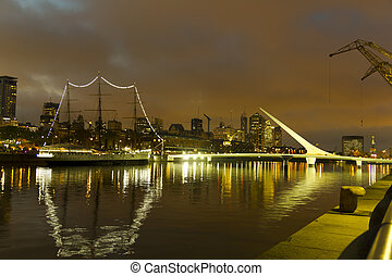 Buenos Aires by night - The maritime zone in Buenos Aires by...