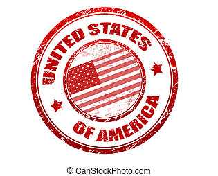 United States of America stamp - Red grunge rubber stamp...
