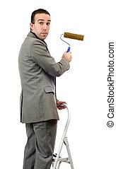 Businessman With Roller Brush