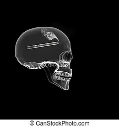 smoking addiction - Human Skull isolated on black with...