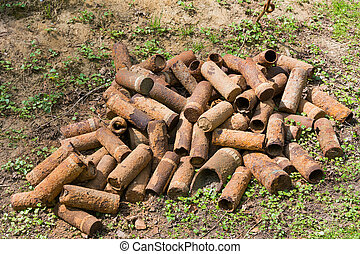 Rusting shell cases from WWI