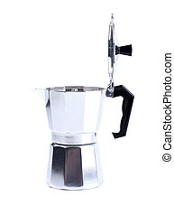 percolator coffee with the lid open on a white background