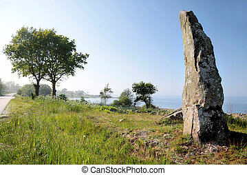 Large monolith on the coast of Bornholm, Denmark