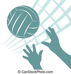 volleyball - Volleyball net with ball and hands on a white...