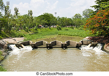 Watergate. - Watergate in Ping river, Lamphun Thailand.