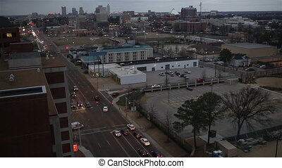 Memphis Sunset Aerial Time-lapse - Time-lapse into Memphis...